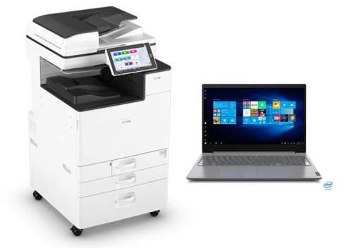 stampante e notebook da ufficio
